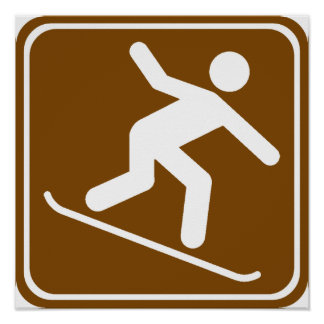 Snowboarding Highway Sign
