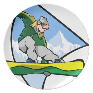 Snowboarding Man Plate