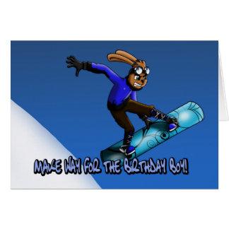 Snowboarding Rabbit Birthday Card