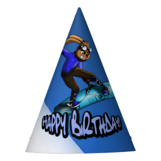 Snowboarding Rabbit Birthday Party Hat