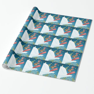 Snowboarding reindeer wrapping paper