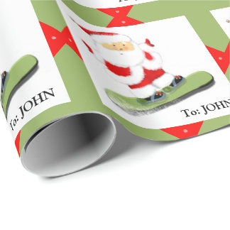 Snowboarding Santa Wrapping Paper