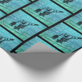 Snowboarding Winter Sports Theme Green and Blue Wrapping Paper