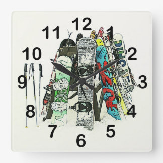 Snowboards - ready for snow square wall clock
