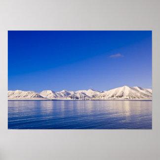 Snowcapped peaks Woodfjord Svalbard Poster