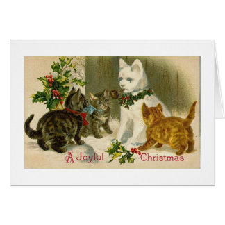 SNOWCAT VINTAGE CHRISTMAS GREETING CARD