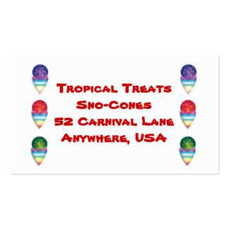 snowcones   sno-cones  for your summer business pack of standard business cards