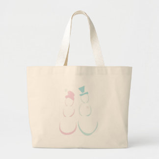 Snowcouple in Icy Pink and Blue Jumbo Tote Bag