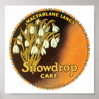 Snowdrop Cake Label Poster
