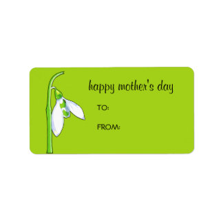 Snowdrop green Mother's Day Gift Tag Label Address Label