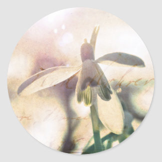 Snowdrop lyrical 01.01q classic round sticker