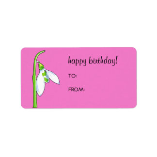 Snowdrop pink Birthday Gift Tag Label Address Label