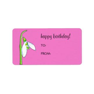 Snowdrop pink Birthday Gift Tag Label Address Label