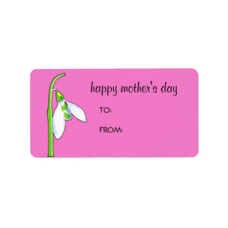 Snowdrop pink Mother's Day Gift Tag Label Address Label
