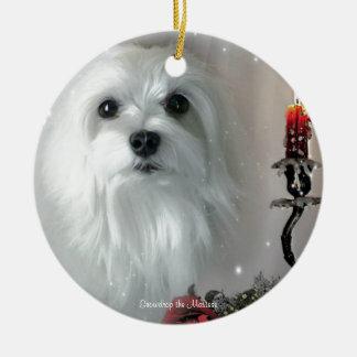 Snowdrop the Maltese Ceramic Ornament