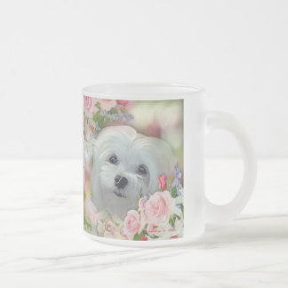 Snowdrop the Maltese Frosted Glass Coffee Mug