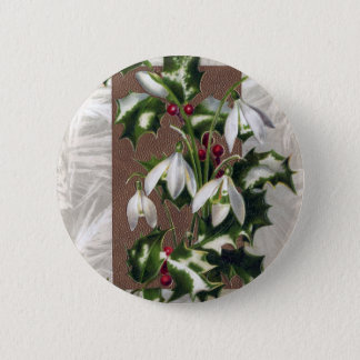 Snowdrops and Holly Vintage Christmas 6 Cm Round Badge