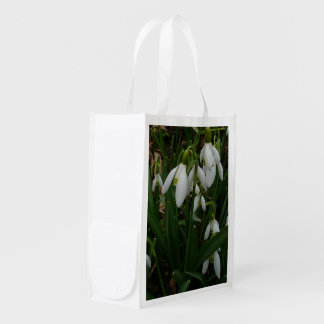 Snowdrops I (Galanthus) White Spring Flowers Reusable Grocery Bag
