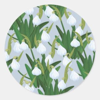 snowdrops pattern classic round sticker