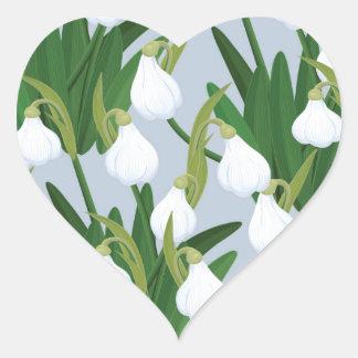 snowdrops pattern heart sticker