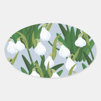 snowdrops pattern oval sticker