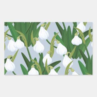 snowdrops pattern rectangular sticker