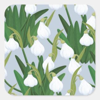 snowdrops pattern square sticker