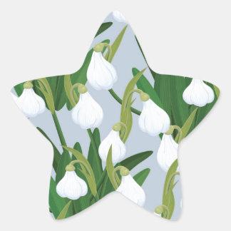 snowdrops pattern star sticker