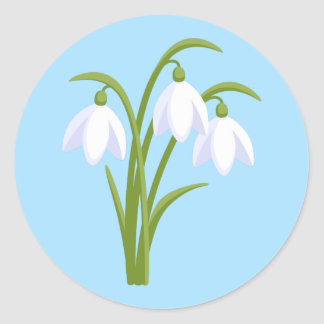 Snowdrops - Spring Flowers on Blue Classic Round Sticker