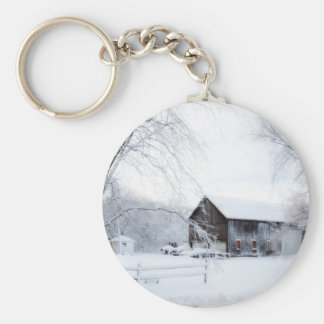 Snowed in Christmas Barn Basic Round Button Key Ring