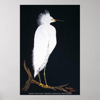 Snowey white egret poster