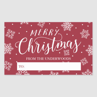 Snowfall Merry Christmas Personalized Gift Tag Rectangular Sticker