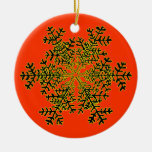Snowflake 2 White Transp The MUSEUM Zazzle Gift... Round Ceramic Decoration