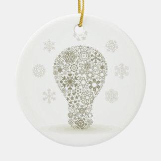 Snowflake a bulb ceramic ornament