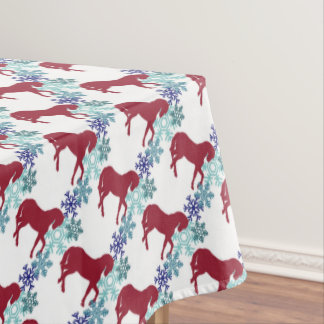 Snowflake And Horse Christmas Table Cloth Tablecloth