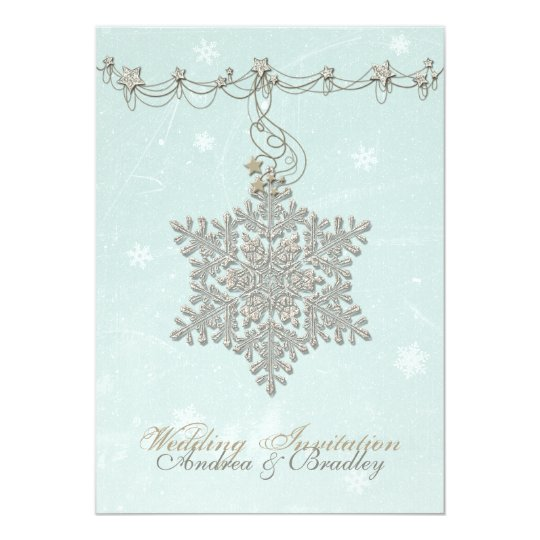 Snowflake and Stars Winter Wedding Invitation