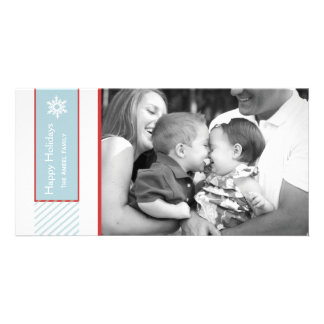 Snowflake and Stripes  |  Blue Holiday Photo Cards