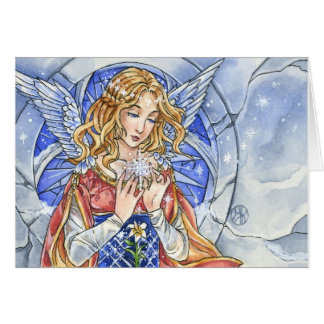 Snowflake Angel Christmas Card by Meredith Dillman