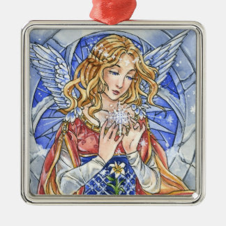 Snowflake Angel square ornament