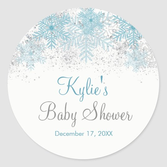 Snowflake Baby It's Cold Outside Baby Shower Round Sticker