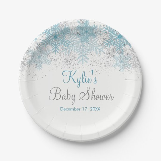 Snowflake Baby It's Cold Outside Paper Plates 7 Inch Paper Plate