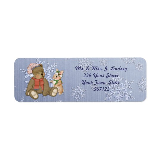 Snowflake Bear & Bunny Address Label