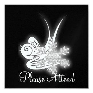 Snowflake & Birdie Christmas Design - B&W Infra... 13 Cm X 13 Cm Square Invitation Card
