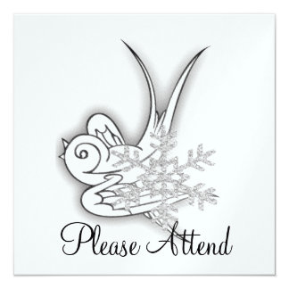 Snowflake & Birdie Christmas Design - B&W Infra... 13 Cm X 13 Cm Square Invitation Card