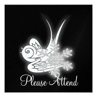 Snowflake & Birdie Christmas Design - B&W Infra... Invite