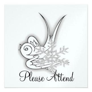 Snowflake & Birdie Christmas Design - B&W Infra... Invitations