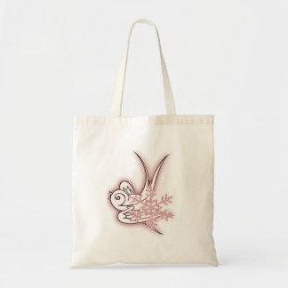 Snowflake & Birdie Christmas Design - Red Tote Bag