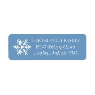 Snowflake, Blue and White, Elegant Return Address Label