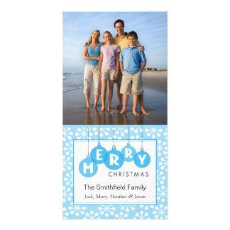 Snowflake Blue Christmas Holiday Photo Card