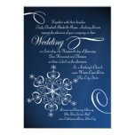 Snowflake Blue Elegance Winter Wedding 13 Cm X 18 Cm Invitation Card